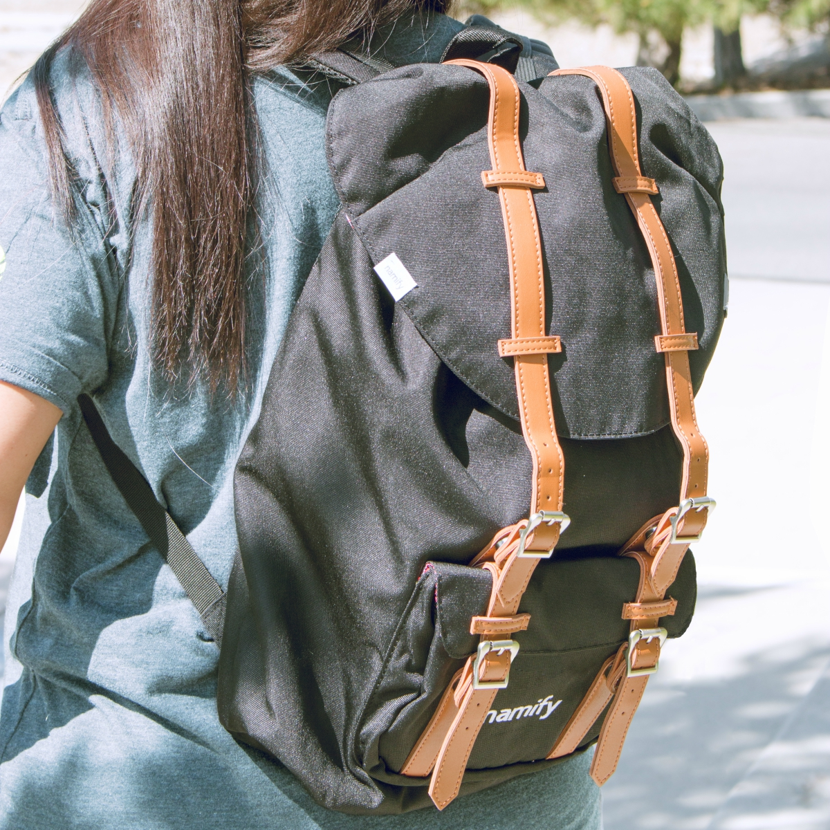 Custom Leather Strap Backpack